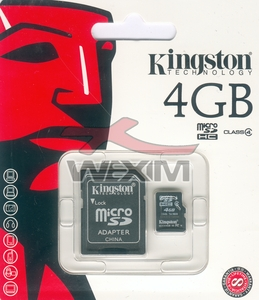 Carte mémoire MicroSD 4 Go Kingston 2-en-1